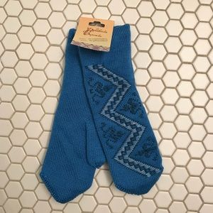 Accessories - NWT blue embroidery warm wool knit mittens